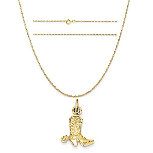 14k Yellow Gold 3-D Cowboy Boot Pendant on a 14K Yellow Gold Carded Rope Chain Necklace, 16'' by K&C