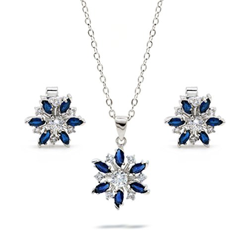 Blue CZ Snowflake Jewelry Set Pendant Necklace Matching Earrings Women Fashion 18-inch, Clip On Set