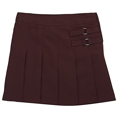French Toast Big Girls' Two-Tab Pleated Scooter, Burgundy, -