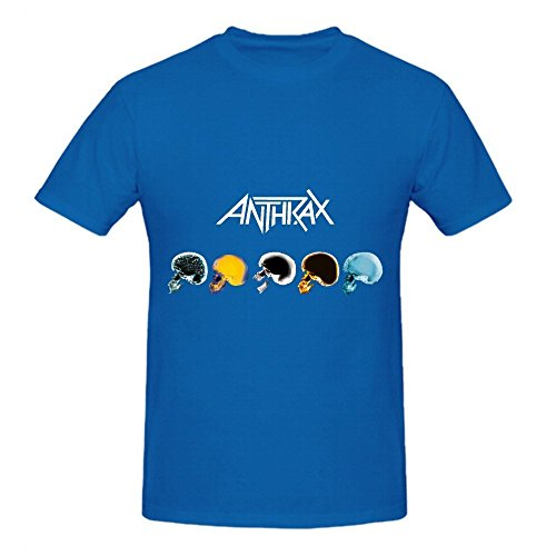 Anthrax Caught In A Mosh 80s Mens Crew Neck Printed Tee Blue (Makeup In The 80s)