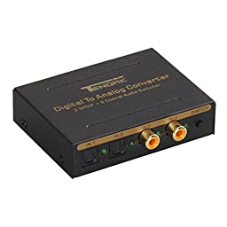 Tendak Digital to Analog Converter Adapter Optical Audio 2 TOSLINK SPDIF + 2 Coaxial to TOSLINK with L/R RCA and 3.5mm Stereo Audio Switcher
