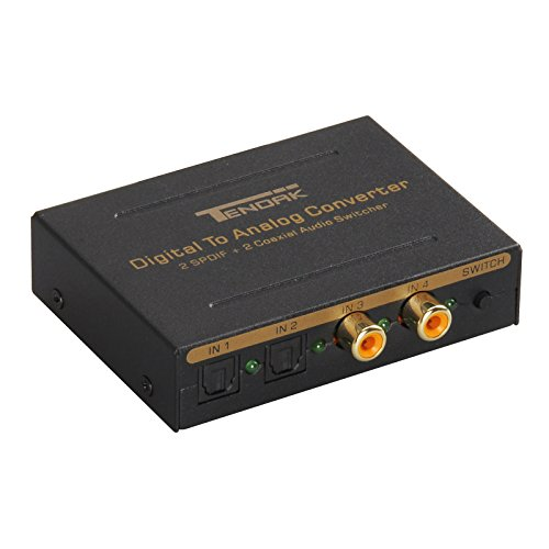 Digital to Analog Audio Converter - Tendak Coaxial to Optical & L/R and 3.5mm Stereo Audio with 2 Toslink SPDIF + 2 Coaxial Port Audio Switcher Adapter for PS4, Xbox