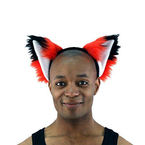 Pawstar Red Furry Fox Ear Headband – Bright Red