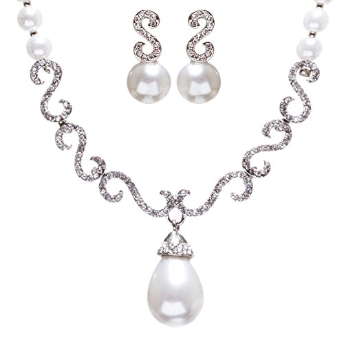 ACCESSORIESFOREVER Women Bridal Wedding Jewelry Crystal Rhinestone Pearl Swirl Links Necklace Set J648 SV