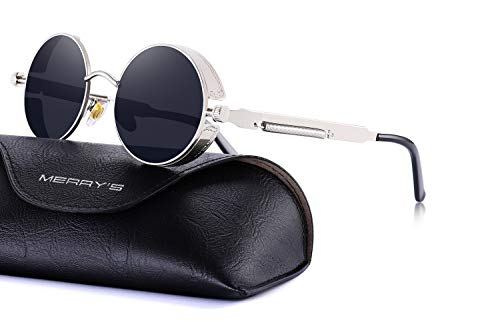 (MERRY'S Gothic Steampunk Sunglasses for Women Men Round Lens Metal Frame S567(Silver&Black, 46))