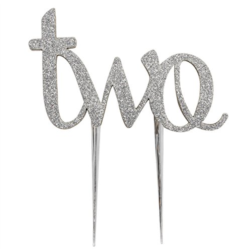 INNORU 2nd Two Birthday Cake Topper Silver Double Sided Glitter Stock Cake Decoration