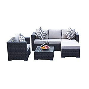 YAKOE Rattan 5-Seater Garden Furniture Sofa Set