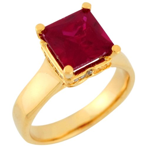 14k Yellow Gold Square Cut Simulated Ruby White CZ Simple Ladies Cocktail Ring