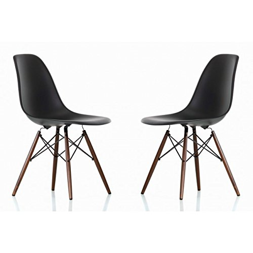 Cheap Ariel- DSW Molded Black Plastic Shell Chair with Dark Oak Eiffel Legs Set of 2