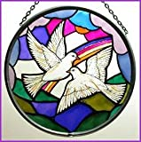 Decorative Hand Painted Glass Window Roundel in a Doves of Peace Design.