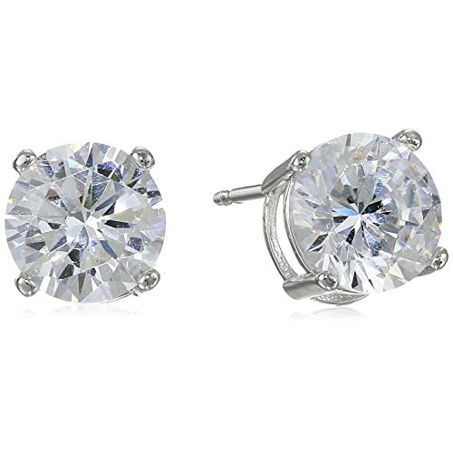 Platinum Plated Sterling Silver Round Cut 7.5mm Cubic Zirconia Stud Earrings (3 cttw)