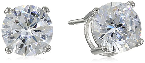 Platinum Plated Sterling Silver Round Cut 7.5mm Cubic Zirconia Stud Earrings (3 (Platinum Round Cut Three Prong)