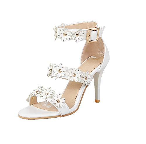 AalarDom d'orteil Blanc Boucle Sandales Stylet TSFLH006007 Femme Ouverture frqwHPf