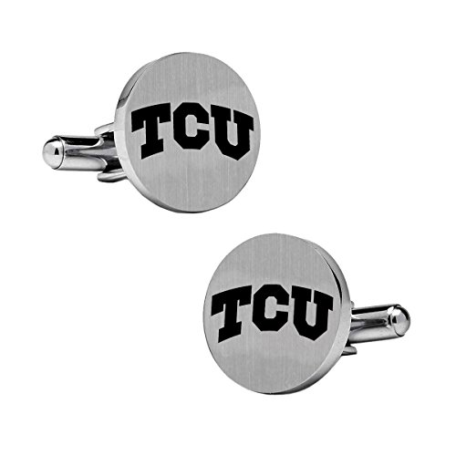 Texas Christian Horned Frogs Stainless Steel Round Cufflinks