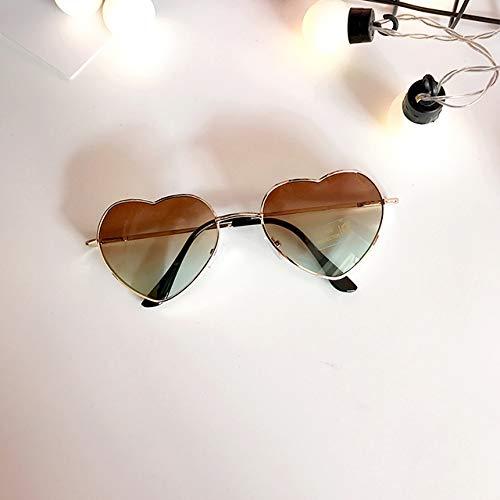 korea retro soft women girls love gradient sunglasses transparent heart-shaped sunglasses sheet women girls marine (love brown gradient glasses