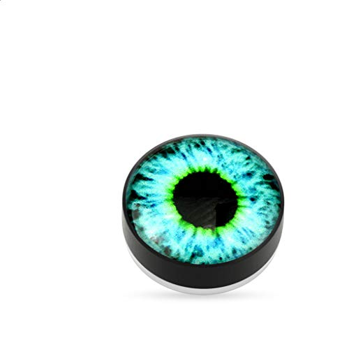 Amelia Fashion Magnetic One Size Pair Glow in The Dark Blue Eyeball Epoxy Fake Ear Plug (Blu Eyeball)