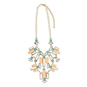 Just Showoff Women's Alloy Cream and Mint Blocks Necklace