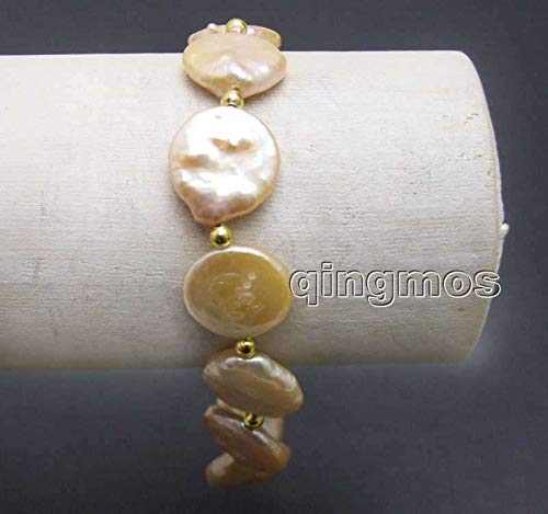 Gabcus Big 14-15mm Pink Coin Round Natural Freshwater Pearl 7.5'' Bracelet-bra379 Wholesale/Retail ()
