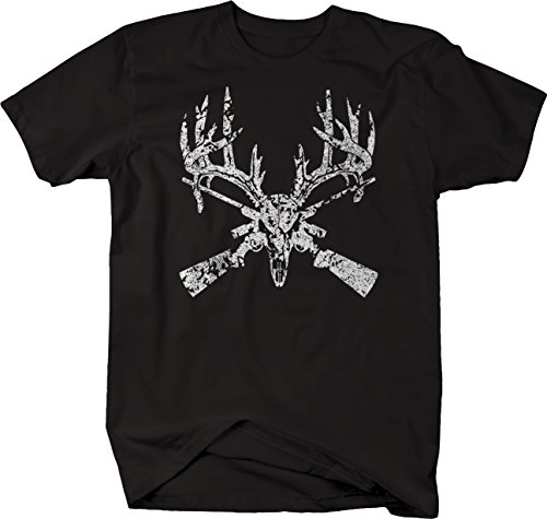 - Bold Imprints Distressed - Deer Skull Big Rack Crossed Hunting Rifles Tshirt - 5XL