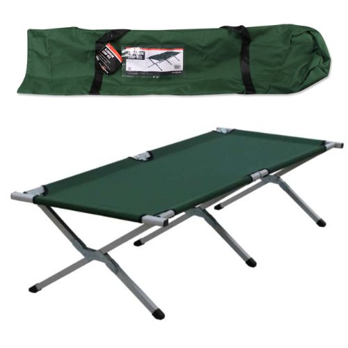Milestones Aluminum Camp Bed with Carry Bag, Green