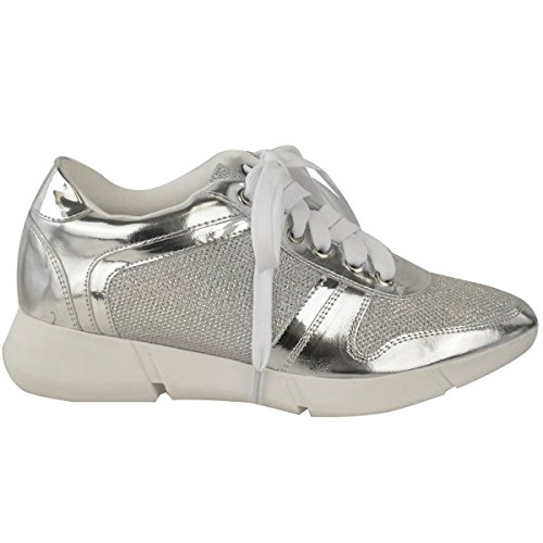 Gym Lace Size Trainers New Fashion Silver Ladies Womens Metallic Sneakers Flat Shoes Sports Up zwwnpqtaxT