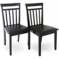 Set of 2 Dining Kitchen Side Warm Chairs Solid Wood Espresso Finish
