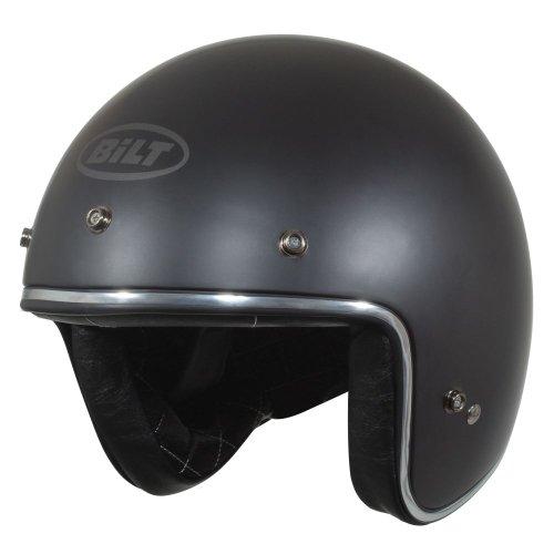 CUSTOM BILT Vintage Jet Cruiser Solid Open-Face Motorcycle Helmet - LG, Matte Black
