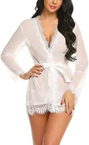 ADOME Women Lingerie Lace Kimono Robe Babydoll Sheer Lace Up Nightgown with  Belted d1c109bd0