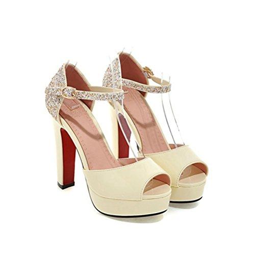 Forme Sangle Sandale Femme Toe Haut Sexy Blanche Peep Party Beige Sequins Plate Sandales Talon Cheville Chaussures Pompes Robe 8qxUvp8Bw