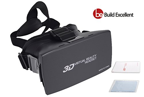 Build Excellent 3D VR Box Virtual Reality Headset 3D Glasses VR Headset Adjust Cardboard VR Goggles Works With 4.7~6.0 inch Smartphones Such as iPhone 6 plus Samsung Galaxy (Black)