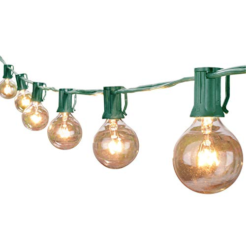 LOKATSE HOME 10FT 10pcs G40 Bulbs Patio Outdoor Globe Lights String for Backyard Deck Bistro Pergolas Balcony Wedding Gathering Parties Markets Decor, Warm White (Lights Christmas Bulb String 10)