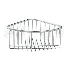 InterDesign Suction Bathroom Shower Caddy Corner Basket for Shampoo, Conditioner, Soap - Stainless Steel, Chrome Finish