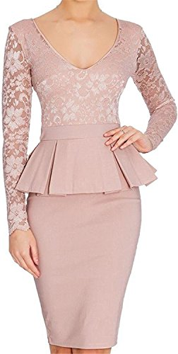 Ivan Johns Women Slim Fit Pencil Long Sleeve Sheath Vintage Dress Pink US - Stores Plaza The In Mall