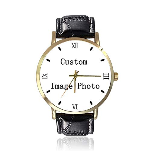 Customize Wrist Watches Made Your Own Photo Text Black Strap Watches Personalized Gifts for Men Women Family Boyfriend Girlfriend (Photo Watch)
