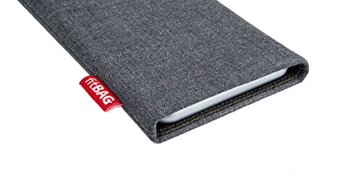 fitBAG Jive Gray custom tailored sleeve for Apple iPhone X. Fine suit fabric pouch with integrated MicroFibre lining for display cleaning by fitBAG (Image #2)