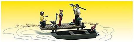 Ruderboot 3 Figuren beim Angeln Spur H0