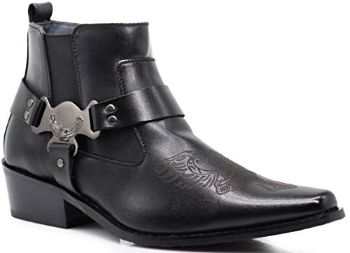 Enzo Romeo WT10 Men's Western Cowboy Motorcycle Ankle Boots (12 D(M) US, Black)