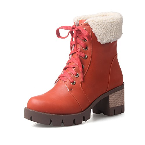 AIWEIYi Fur Lace Square Boots Boots Round Platform Orange toe up Ankle Ankle Heel Womens rZq8rF