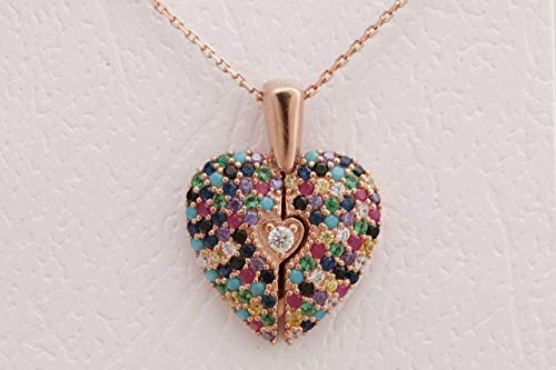 - Turkish Handmade Jewelry Heart Special Design 925 Sterling Silver Inside is open Round Cut Sapphire Turquoise Pink Ruby Emerald Citrine White Topaz Rose Gold Chain Necklace