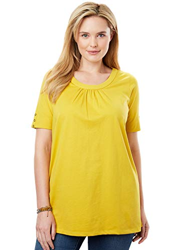 - Woman Within Women's Plus Size Perfect Button-Sleeve Shirred Scoop Neck Tee - Golden Mustard, L