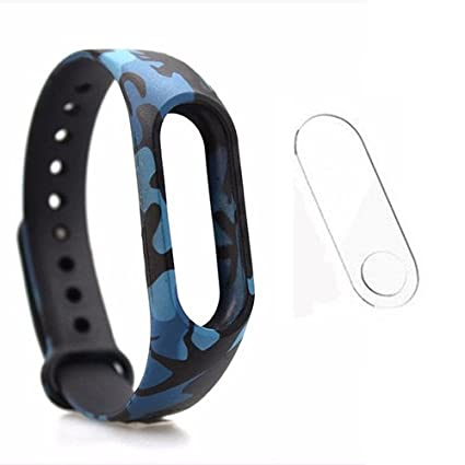 Veronic Mi Band 2 and Mi Band HRX Edition Replacement Blue Camouflage Strap  | Military/Army Blue Color Print Smart Band Strap With Screen Guard