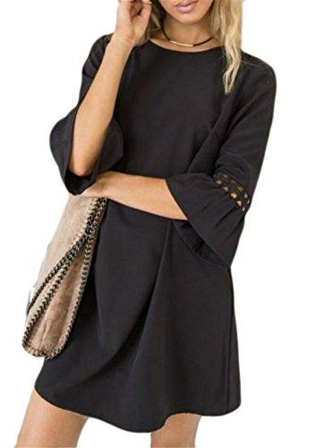 Leisure Neck Women's Cowl Stylish Color Pure Trumpet Sleeve Black Dress Jaycargogo tqFa1xx