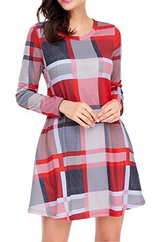 Swing T Dress AlvaQ Checkered Women Plaid Shirt Brown Loose Long Sleeve xx7qTYZ