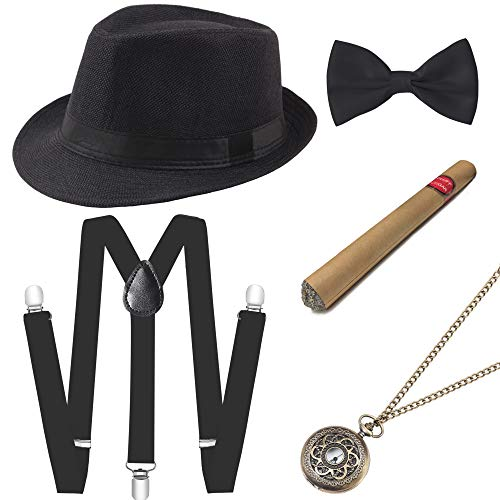 BABEYOND 1920s Mens Gatsby Costume Accessories Set 30s Panama Hat Elastic Y-Back Suspender Pre Tied Bow Tie Pocket Watch and Plastic Cigar (Black Set)