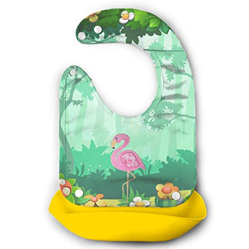Embroidery Handkerchiefs Chinese (Benunit Embroidery Flamingo Silicone Bib Easily Wipes Clean)