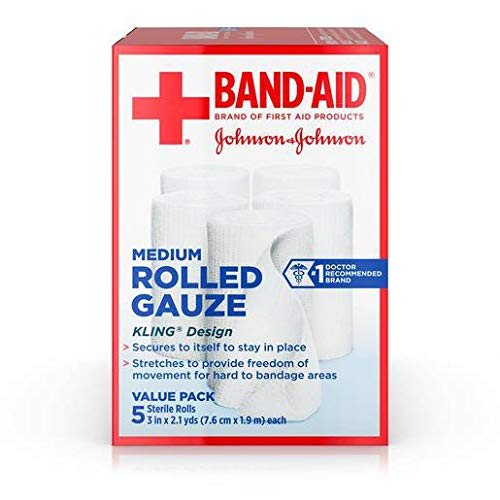 Johnson and Johnson Band-Aid Brand First Aid Products Medium Rolled Gauze 3 in. x 2.1 yd. Rolls 5 ct Box - 12 per case.