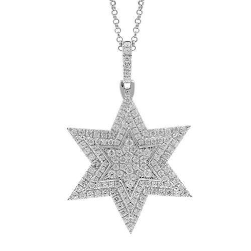 2.20 Carat 10kt White Gold Diamond Star of David Men's Hip Hop Pendant by Isha Luxe