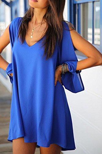 Yacun line a Blue donna in Chiffon lunga abito Manica FYzZTUZ
