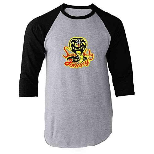 Sweep The Leg Johnny Cobra Kai Karate Kid 80s Black L Raglan Baseball Tee ()