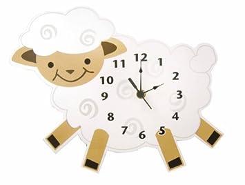 Bebé Barnyard Cordero en forma de reloj de pared, Crema